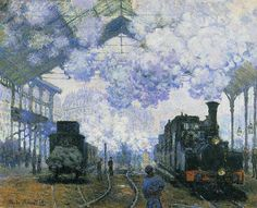 La gare Saint-Lazare, arrivée d'un train (C Monet - W 439),1877.