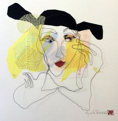 Mixed media. Wire portrait in one piece with paper collage. Size 50x50 cm. Title Denice. Artist Agneta Pihlström