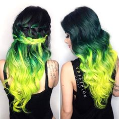 Wonderful green ombre hairstyle from @lilmoonchildd~ from black to dark green…