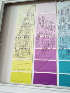 Ode to the humble paint chip - sketching on paint chips for cheap & easy DIY wall decor
