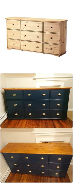 My first Ikea hack - Hurdal 9 drawer dresser painted in Farrow & Ball Hague Blue, with Ikea brand brushed gold pulls, hand planed and stained top