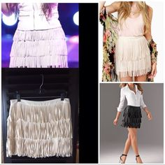 "🌼 NWOT! Flirty Fringe Skirt NWOT  Cute, fun, flirty! Can be worn year round! Super cute ivory fringe skirt. Length is 15"" from waist to skirt bottom & 16"" from waist to bottom of fringe. Waist is 15&1/2"". Made from 100% Polyester. Side zipper. Photos from Google Images to show fit and ways to wear. They are not the actual skirt. L'ATISTE by AMY Skirts"