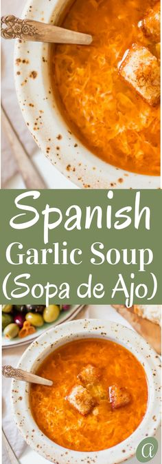 Healthy Spanish garlic soup, Sopa de Ajo. A humble recipe using 7 simple ingredients, ready in 15 minutes. The most nourishing bowl of healthy, delicious restorative soup. via @abrapappa