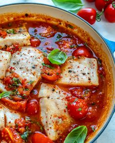 Best Cod Recipes, Vegan Recipes Easy, Clean Eating Recipes, Fish Recipes, Seafood Recipes, Healthy Eating, Yummy Recipes, Tomato Sauce Recipe