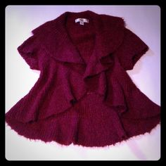 """Burgundy shimmering open cardigan Fabric has a pretty yet subtle shimmer weaved into it, last pic shows a very slight pull in fabric, not noticeable when wearing, drapes very nicely just too small on me, will fit up to 34"""" bust, length is 22"""" Decree Sweaters Cardigans"""