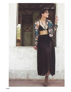 bathing suit top and maxi skirt with tribal jacket