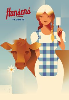 2015 Danish Modern Retro Poster, Hansen's Girl With Cow by Mads Berg Poster Art, Gig Poster, Poster Retro, Retro Advertising, Vintage Advertisements, Illustrations Vintage, Illustration Art, Old Posters, Children's Comics