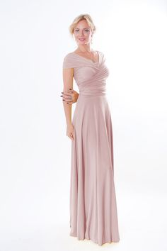Dusty pink Infinity Dress  floor length  wrap dress by Innesaline www.innesaline.ETSY.com