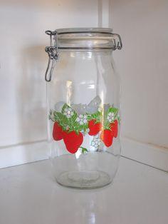 Strawberry Glass Jar/Vintage Glass by OldSteamerTrunkJunk on Etsy