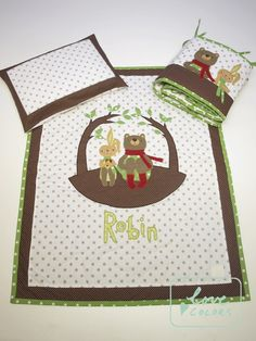 forest themed baby quilt with bumper. bunny and bear on quilt.