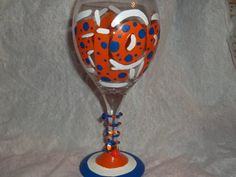 Hand Painted Orange & Blue WINE GLASS..UF..  Florida Gators  ..Gator Girl. $15.00, via Etsy.