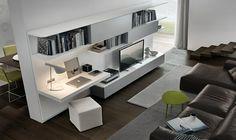 aménagement bureau blanc laqué, meuble télé assorti, canapé d'angle en cuir marron et sol en parquet contrecollé