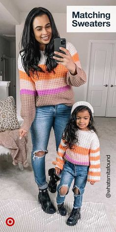 Mommy And Me Outfits, Kids Outfits, Mother Daughter Fashion, Kids Fashion, Fashion Outfits, Matching Family Outfits, Cute Casual Outfits, Swagg, Sweater Outfits