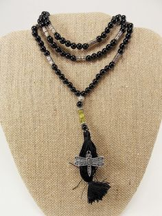 Black Agate & Peridot Japa Mala / Prayer Beads
