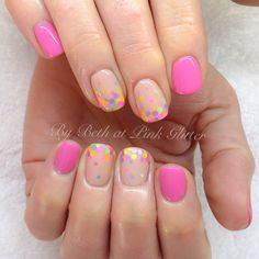 Nude & pink nails with color dots