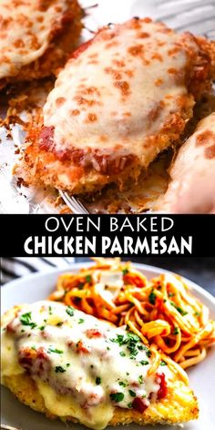 This delicious Oven Baked Chicken Parmesan recipe is easy and doesn't require any frying. Because this chicken Parmesan is baked, it is healthy, quick and easy! Make this crispy baked Parmesan crusted chicken for dinner tonight in about thirty minutes! Oven Baked Chicken Parmesan, Parmesan Potatoes, Chicken Parmesean, Chicken Parmigiana, Chicken Thigh Parmesan Recipe, Chicken Fried Chicken, Skinny Chicken Parmesan, Baked Chicken Spaghetti, Oven Baked Chicken Tenders