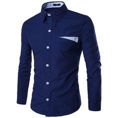 YUNY Mens Stripes Turn-Down Collar Casual Long-Sleeve No Iron Shirt Dark Blue XL