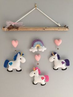 Unicorn Driftwood Mobile by HeartFELTHangables on Etsy Felt Crafts, Diy And Crafts, Arts And Crafts, Diy Y Manualidades, Little Unicorn, Felt Baby, Felt Patterns, Felt Toys, Felt Ornaments