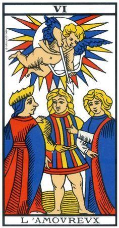 Voyance tarot de marseille   L Amoureux sur voyanceenligne   On aperçoit  au-dessus l ange qui est prêt à tirer sa flèche pour forcer notre bonhomme  à faire ... da37bdcd27eb