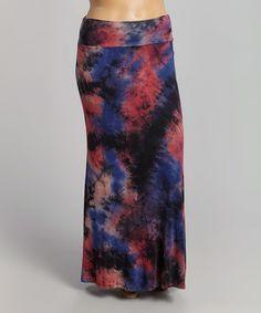 20 Look at this #zulilyfind! Red & Navy Tie-Dye Maxi Skirt - Plus #zulilyfinds