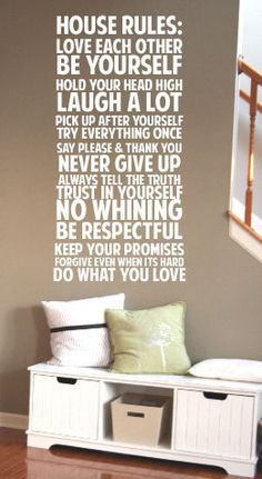 House Rules Never Give up Say Please & Thank You BIG Vinyl Decal Vinyl  Decal Home Decor Door Wall Lettering Words Quotes