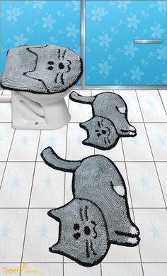 Jogo de banheiro gatinhos - frufru | Tapete Shop | Elo7