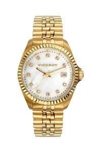 Reloj Viceroy Femme, es todo tendencia, el dorado con todos los detalles posibles, zirconitas en el interior de su esfera de madre perla, bisel de lo más chic, y visualización de calendario. www.relojes-especiales.net #oro #nacar #brillantes