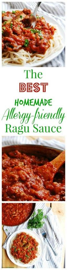 Homemade Allergy-friendly Ragu Sauce. Dinner Recipe by Allergy Awesomeness (Gluten, dairy, egg, soy, peanut & tree nut free; top-8-free; vegetarian option)  |homemade ragu| |allergy friendly pasta| |gluten free pasta| |gluten free pasta dinner| |dairy free pasta| |dairy free pasta dinner| |top 8 free pasta|