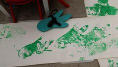 Dinosaur footprints made by Reception children.