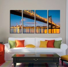 Extra Large Wall Art NEW YORK Canvas Prints - Ed Koch (aka Queensboro) Bridge and the Ravenswood Generating Station at Dusk