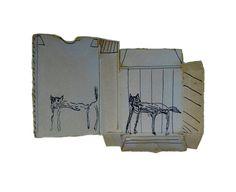 Cattery 1989 (by Andrew Litten) biro on cardboard box