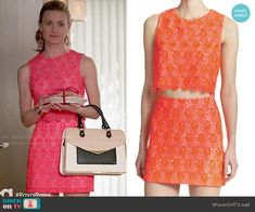 Paige's red lace crop top and skirt set on Royal Pains.  Outfit Details: http://wornontv.net/49863/ #RoyalPains