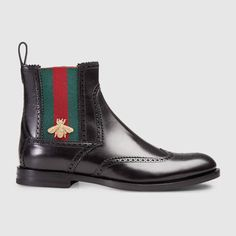 GUCCI Leather Boot With Web. #gucci #shoes #men's boots