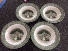 Royal China The Old Curiosity Shop 4 Rimmed Soup Bowls Used Green Antique  | eBay