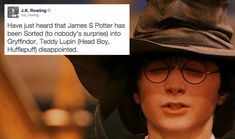 …and, of course, he was sorted into Gryffindor. | 19 Extremely Important Things J.K. Rowling Taught Us About Harry Potter