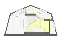 A Summer House Boasts a Parent's Bedroom with Play Area Attic Spaces, Kid Spaces, Small Spaces, Wood Bedroom, Kids Bedroom, Sectional Perspective, Built In Bed, Loft Room, Kids Bunk Beds