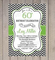 Adult Birthday Invitation Invite 21st 25th by VividLaneDesigns