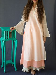 White Chanderi Kurta with Peach Cotton Lining