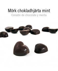 Mörk Chokladhjärta mint:           Corazón de chocolate negro relleno de crema de menta. ¡Delicioso y refrescante!