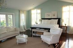 Yep...my bedroom needs to look like this!!  Benjamin Moore Palladian Blue paint!!
