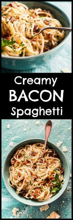 Creamy bacon spaghet