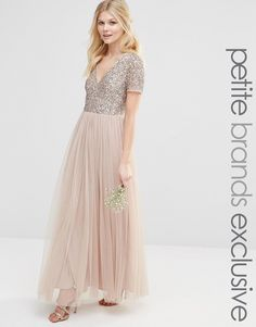 49c169b6dee9 Image 1 of Maya Petite V Neck Maxi Tulle Dress With Tonal Delicate Sequins Pink  Bridesmaid