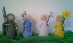 Needle felted flower children, needle felted daffodil, needle felted snow drop, needle felted flower, waldorf flower children by ivyRoseWoolArt on Etsy https://www.etsy.com/ca/listing/286718227/needle-felted-flower-children-needle