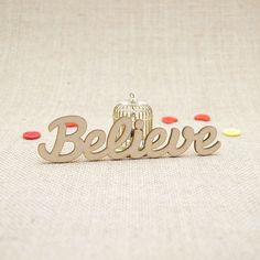MDF wooden believe word shape laser cut from Premium 3mm MDF (Medium Density Fibreboard). Sizes from 3cm to 6cm tall in 3mm thickness.