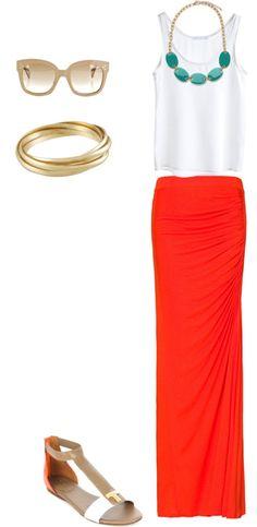 Styled: orange maxi/mermaid skirt teal necklace and neutrals. Fashioninspiration.
