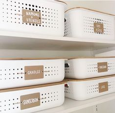 Here are some thrifty solutions that make some genius home-organization ideas a reality. And they're all Here are some thrifty solutions that make some genius home-organization ideas a reality. And they're all available at the local dollar store. Closet Storage Bins, Linen Closet Organization, Bathroom Organization, Bathroom Storage, Storage Organization, Closet Shelves, Storage Hacks, Dollar Store Organization, Baskets For Storage