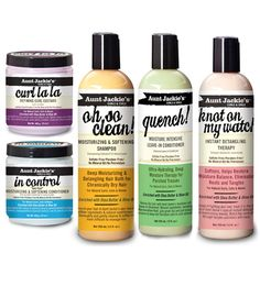 products curl and coils | Aunt Jackie's  Totally love the Quench! leave in conditioner, Knot on my watch detangler and Curl La La. First time ever I feel confident wearing my curls :)