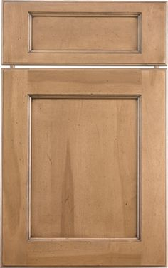 Presidio Recessed door style by #WoodMode, shown in distressed Natural finish with Black glaze on heartwood maple.