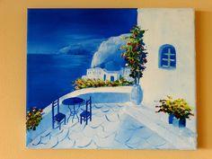 Santorini - Greece, oil painting  25 x 30 cm