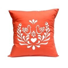 Love Birds in Orange - Handmade Cushion Cover